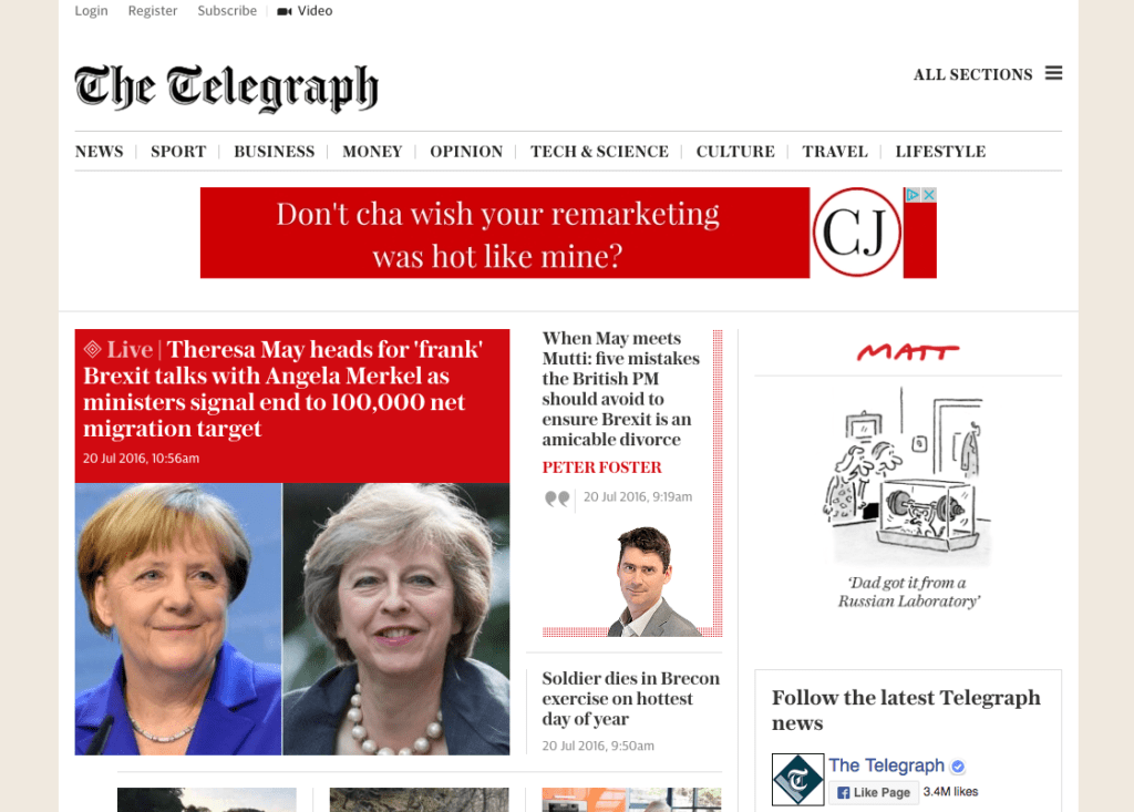 Remarketing advertising on Daily Telegraph